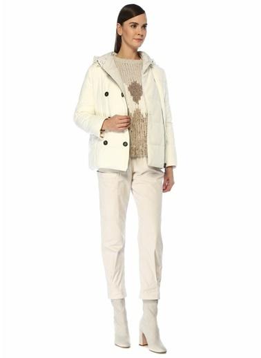 Brunello Cucinelli 101485135 Kapüşonlu Kruvaze Yün Kadın Puff Mont Beyaz
